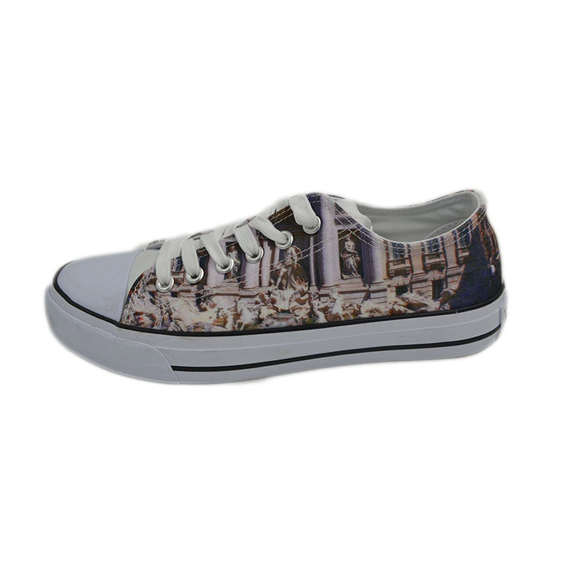 Vulcanized low cut lace up printed women canvas shoes