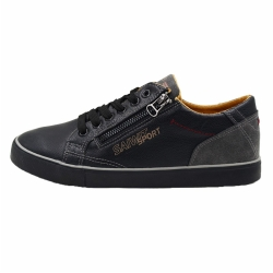 Vulcanized low cut lace up men PU shoes