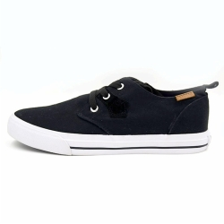 Vulcanized low cut men lace up canvas shoes