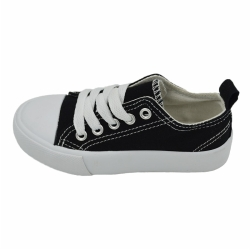 Vulcanized low cut lace up kid canvas shoe
