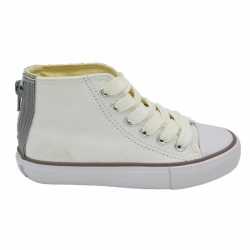 Vulcanized low cut lace up kid canvas shoes