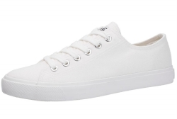 Vulcanized Low cut Lace up men white canvas shoes