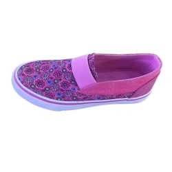 ladies flower canvas shoes slip on