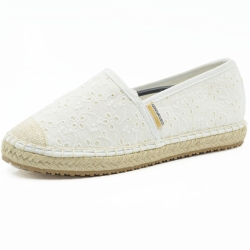 Women White Slip On Espadrille Shoes AEW0013