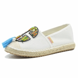 Women White Tassel Slip On Espadrille Shoes