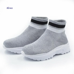Kids boots with sock style knit upper in grey color
