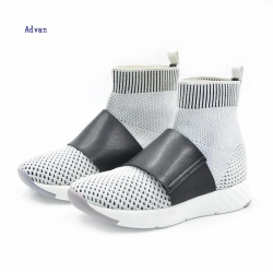 Fashion kids boots flyknit upper in grey color