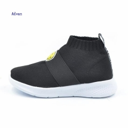 Fashion low top kids sneakers with flyknit upper in black color