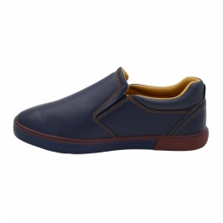 Vulcanized low cut slip on men PU leather shoes
